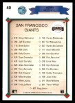 1990 Upper Deck #40   -  Kevin Mitchell San Francisco Giants Team Back Thumbnail