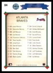 1990 Upper Deck #84   -  John Smoltz Atlanta Braves Team Back Thumbnail