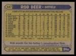 1987 Topps #547  Rob Deer  Back Thumbnail