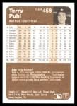1983 Fleer #458  Terry Puhl  Back Thumbnail