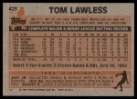 1983 Topps #423  Tom Lawless  Back Thumbnail