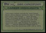 1982 Topps #340   -  Dave Concepcion All-Star Back Thumbnail