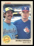 1983 Fleer #632  Robin Yount / Buddy Bell  Front Thumbnail
