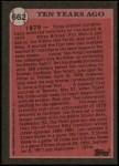 1989 Topps #662   -  Lou Brock Turn Back The Clock Back Thumbnail