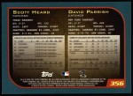 2001 Topps #356  David Parrish  Back Thumbnail