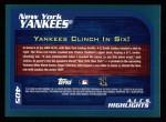 2001 Topps #405   New York Yankees Back Thumbnail