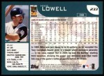 2001 Topps #233  Mike Lowell  Back Thumbnail