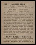 1939 Play Ball #103  Moe Berg  Back Thumbnail