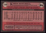 1989 Topps #189  Kevin Mitchell  Back Thumbnail