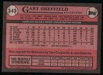 1989 Topps #343  Gary Sheffield  Back Thumbnail