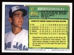 1994 Topps #67  Alex Gonzalez  Back Thumbnail