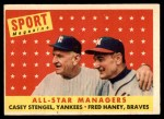 1958 Topps #475   -  Casey Stengel / Fred Haney All-Star Managers Checklist Front Thumbnail