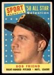 1958 Topps #492   -  Bob Friend All-Star Front Thumbnail