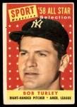 1958 Topps #493   -  Bob Turley All-Star Front Thumbnail