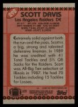 1990 Topps #292  Scott Davis  Back Thumbnail
