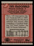 1990 Topps #435  Tim McDonald  Back Thumbnail
