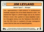 2012 Topps Heritage #134  Jim Leyland  Back Thumbnail
