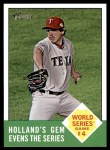 2012 Topps Heritage #145   -  Derek Holland World Series Game #4 - Holland's Gem Evens the Series Front Thumbnail