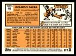 2012 Topps Heritage #449  Gerardo Parra  Back Thumbnail