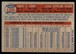 1957 Topps #120  Bob Lemon  Back Thumbnail
