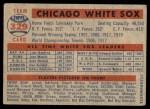 1957 Topps #329   White Sox Team Back Thumbnail