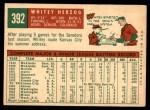 1959 Topps #392  Whitey Herzog  Back Thumbnail