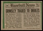 1974 Topps Traded #59 T  -  Ross Grimsley Traded Back Thumbnail