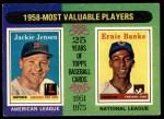 1975 Topps #196   -  Jackie Jensen / Ernie Banks 1958 MVPs Front Thumbnail