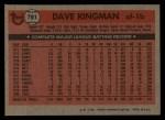 1981 Topps Traded #781 T Dave Kingman  Back Thumbnail