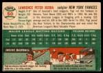 1954 Topps #50 WHT Yogi Berra  Back Thumbnail