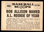 1961 Nu-Card Scoops #466   -  Bob Allison Bob Allison Named AL Rookie of Year Back Thumbnail
