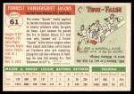1955 Topps #61  Spook Jacobs  Back Thumbnail