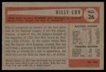 1954 Bowman #26 ALL Billy Cox  Back Thumbnail