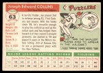 1955 Topps #63  Joe Collins  Back Thumbnail
