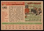 1955 Topps #182  Humberto Robinson  Back Thumbnail