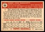 1952 Topps #184 CRM Bob Ramazzotti  Back Thumbnail