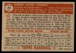 1952 Topps #77  Bob Kennedy  Back Thumbnail