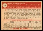 1952 Topps #179 CRM Frank Smith  Back Thumbnail