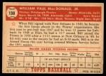 1952 Topps #138 CRM Bill MacDonald  Back Thumbnail