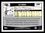 2006 Topps #196  Ed Reed  Back Thumbnail