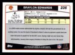 2006 Topps #236  Braylon Edwards  Back Thumbnail