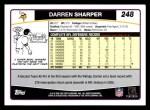 2006 Topps #248  Darren Sharper  Back Thumbnail