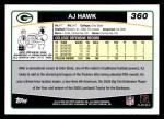 2006 Topps #360  A.J. Hawk  Back Thumbnail