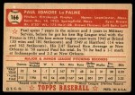 1952 Topps #166 CRM Paul LaPalme  Back Thumbnail
