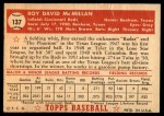 1952 Topps #137 CRM Roy McMillan  Back Thumbnail