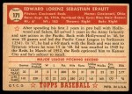 1952 Topps #171 CRM Ed Erautt  Back Thumbnail