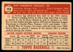 1952 Topps #173 CRM Roy Smalley  Back Thumbnail