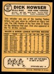 1968 Topps #467  Dick Howser  Back Thumbnail