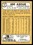 1968 Topps #443  Joe Azcue  Back Thumbnail