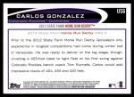 2012 Topps Update #6  Carlos Gonzalez  Back Thumbnail